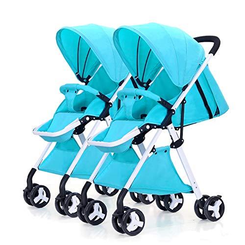 LIU UK Baby Stroller Doppelkinderwagen, Abnehmbarer Leichter faltender Suspendierungs-doppelter Säuglingslaufkatzen-Weiß-Rahmen (Farbe : Blau)