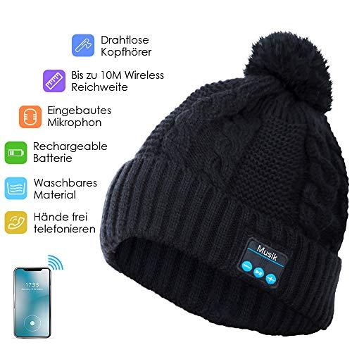 Bluetooth Kopfhörer Beanie, Bluetooth Mütze Damen, kein Innenfutter, Eingebaute HD Stereo-Lautsprecher & Mikrofon, Wiederaufladbaren für Winter Outdoor Sports, (Schwarz)