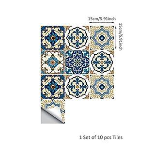 10PCS Moroccan Style Tile Stickers Waterproof Wall Stickers Bathroom Art Decor,6x6 inch