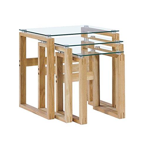 CAGUSTO-Beistelltisch-MIKKEL-3er-Set-aus-Eiche-massiv-mit-Platten-aus-Glas-nordisch-skandinavisches-Design-Couchtisch-oder-Satztisch