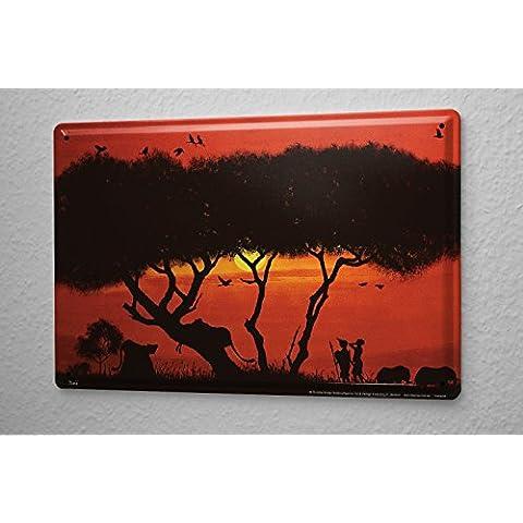 K. Honkou Cartel de chapa Placa metal tin sign Agencia De Viajes De Vacaciones Decoración África león elefante 20X30 cm
