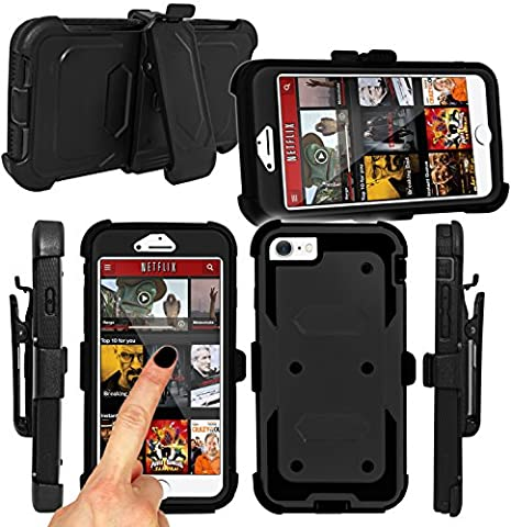 Magic Global Gadgets® For Apple iPhone 5 5S SE (BLACK) Strong Military Survival Builders Workman Shockproof Hard Defender Case Cover With Built In Tough Screen Guard + 360° Detachable Belt Holster Clip/ Kickstand
