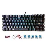 Gaming-Tastatur Mechanische RGB Backlight 81Key DIY Blue Switches Keyboard schwarz schwarz
