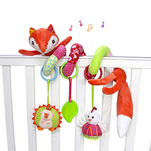 Designs Krippe (Nlatas Baby Krippe Niedlichen Fox Design Aktivität Spirale Plüsch Spielzeug, Kinderwagen und Reise Aktivität Spielzeug Stofftier für Neugeborene)