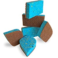 Pura Naturals Stink Free Cleaning Sponges Inhibit Bacteria. Stay Fresh NO ODOR Guarantee! Eco Kitchen/Household/Dish Sponges w/Walnut Scrubbers. 40x more durable. (6-pack | 48 Hour Infused Soap Blast)