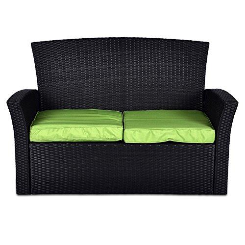 Rattan Set 4tlg mit Glastisch grün Garnitur Gartenmöbel Sitzgruppe Poly Rattan inklusive höhenverstellbare Füße und Sicherheitsglas 4-sitzer 4-teilig - 2