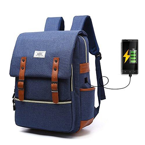 """iCasso Zaino per PC portatile 15,6"""" , Laptop Borsa Backpack leggero Viaggio Scuola anti-furto belt Business Borse multi-funzionale con USB Port , Blu"""