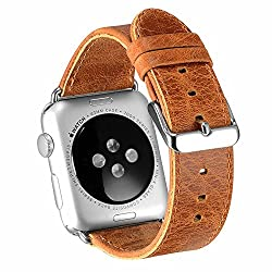 Apple Watch Band 38mm Series 2 Pinhen Vintage Genuine Leather Strap Wrist Band Replacement Watchband With Metal Clasp & Adapters For Apple Watch Series 1 & Series 2 (38mm Brown)