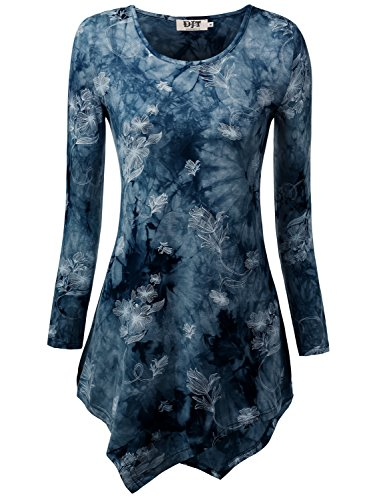 DJT Damen Langarmshirt Asymmetrisch T-Shirt Stretch Longshirt # D156T17 Blau-Blumen M
