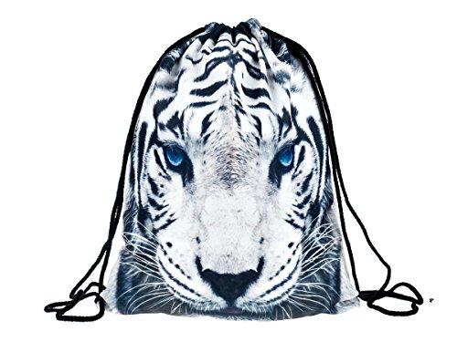 Sac à dos à cordon de sport Gym très pratique à ouvrir et fermer idéal pour vos activités sportives pour fille garçon femme homme adulte enfant ados, choisir:RU-64 blanche tigre