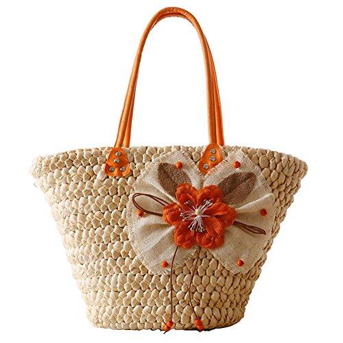 YOUJIA Fiore Handbags Spiaggia Vacanza Paglia Borsa Borsa A Tracolla #2 arancione