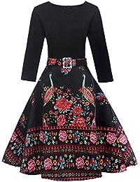 bb38c8994ce Longra Audrey Hepburn Style Vintage Robe Femme Fille Manches Longues Bohême  Imprimé Robe Femme Chic Robe