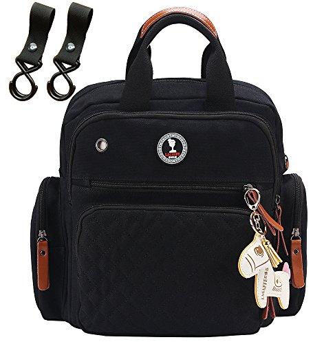 Preisvergleich Produktbild Segeltuch Wickeltaschen Schwarz Rucksack Messenger Bag Passend Kinderwagen GroßEs FassungsvermöGen