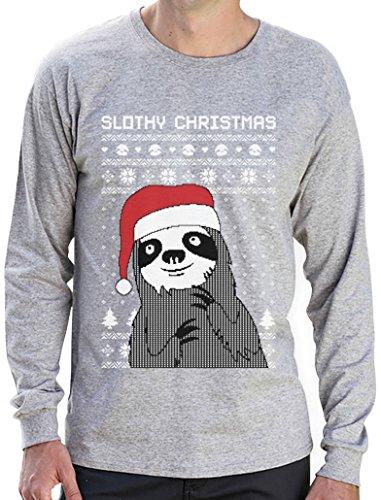 Green Turtle T-Shirts Slothy Christmas Faultier mit Nikolausmütze Weihnachtsshirt Langarm T-Shirt Grau