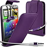 ( Purple ) HTC Sensation XL G21 High Quality Faux Leder Flip Case Hülle & LCD-Display Schutzfolie & Aluminium In-Ear-Ohrhörer Stereo-Ohrhörer mit Hands Free Mic & On-Off-Taste Einbau by i-Tronixs