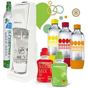 Sodastream - pack sodacool fresh - Machine à gazéifier l'eau avec 1 cylindre et 4 bouteilles + 2 concentrés