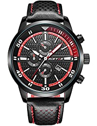Ilove EU Hombre Reloj de pulsera Sport Reloj analógico de cuarzo piel 30m Resistente al agua LED de luz Fecha Rojo Negro whlss010–2