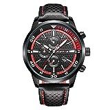 iWatch 010-2, orologio da polso da uomo, sportivo, analogico, al quarzo, 30M impermeabile, luce LED, data, rosso e nero