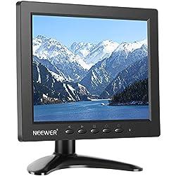 Neewer NW801H Monitor 8 pulgadas con 4:3 Pantalla TFT-LCD 1024 x 768, Contraste 500:1, Entrada de Audio HDMI VGA BNC AV, Altavoz Incorporado para DSLR, PC, DVD y Cámara Coche (Batería No Incluida)