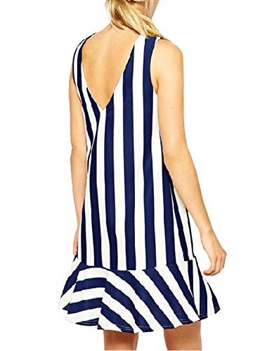 sourcingmap Femmes Sans Manches Col Rond Rayures Agitation Ourlet Coupe Clepsydre Robe Bleu