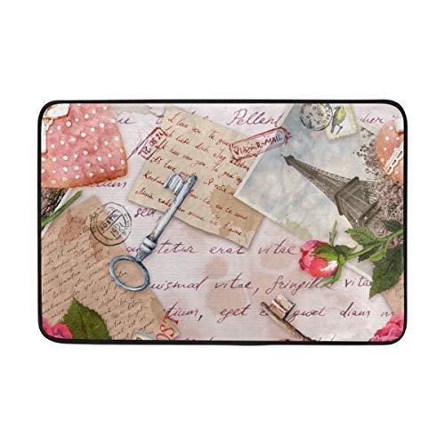 Zhengzho Vintage Eiffelturm Herzen Rosen Tasten Bereich Teppich Rutschfeste Fußmatte 40x60cm, Memory Sponge Indoor Outdoor Dekor Teppich für Eingang Wohnzimmer Schlafzimmer Büro Küche Flur - Vintage-rose-taste