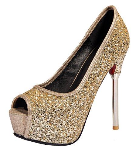 YE , Escarpins peep-toe femme Or