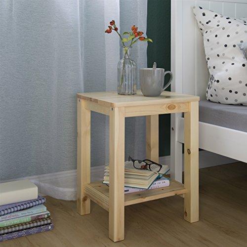 Homestyle4u 1826 Beistelltisch Nachttisch aus Holz Natur rechteckig Schlafzimmer Couchtisch Wohnzimmertisch 47 cm hoch