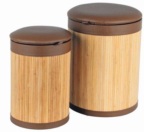 Wäschekorb 2er Set aus Bambus mit Sitzfläche