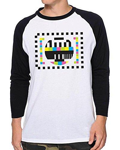 TV Test Pattern Baseball Shirt, Red or Black - M, L, XL