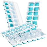 (4 Pack) TopElek Moules à Glace, Bac de Glaçons LFGB Silicone Certifié Glace Cube Tray Moisissures avec Couvercle Non-Déversement, Meilleur pour l'Eau Cocktails et Autres Boissons - Bleu
