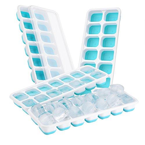 Topelek - set di 4 vassoi per ghiaccio, in silicone, con 14scomparti per cubetti di ghiaccio, certificati lfgb, molto pratici per raffreddare sia l'acqua, che cocktail e altre bevande blu 1