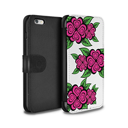 Stuff4 Coque/Etui/Housse Cuir PU Case/Cover pour Apple iPhone 6+/Plus 5.5 / Blanc/Turquoise Design / Roses Coeur Amour Collection Blanc/Rose