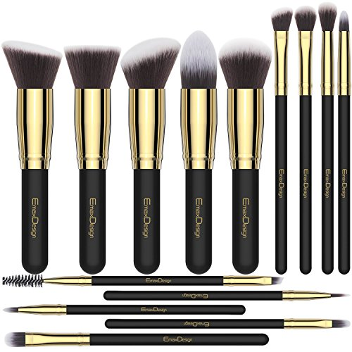 EmaxDesign Set pennelli trucco 14 pezzi pennelli professionali sintetico Foundation Blending Concealer Eye Face Liquid Powder Cream Cosmetics brushes kit (oro nero)