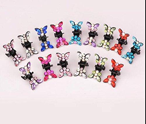 cuhair (TM) 10 strass cristal Frange Mini Pince à cheveux épingle à cheveux Prune Fleur pour Fille de couleur