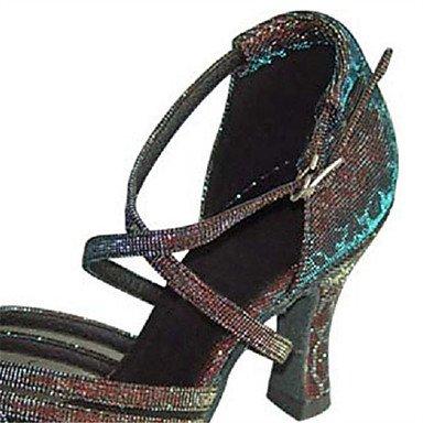 Scarpe da ballo-Personalizzabile-Da donna-Balli latino-americani / Salsa-Tacco su misura-Raso / Brillantini-Nero / Bianco Black