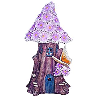 Solar Powered beleuchtet Fairy House pink flower Cottage/Dwelling Garden Ornament