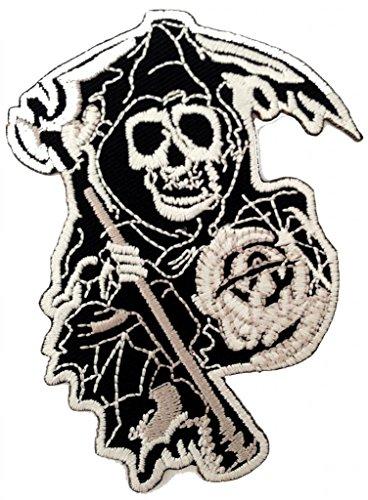 Death Awaits Cool Punk Rock Biker Patch ''7,5 x 9,5 cm'' - Toppa Patches Toppa Toppa Termoadesiva Toppa Termoadesiva Per Stoffa Ricamato Toppa Embroidered Patch Applicazioni Applique Catch The Patch