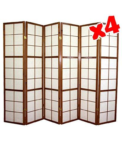 Shoji Fai Da Te.Pegane Paravento Giapponese Shoji In Legno Marrone Scuro Di 6 Pannelli