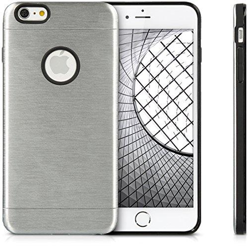 Cover in alluminio per Apple iPhone 6 Plus / 6S Plus - kwmobile custodia protettiva in silicone TPU e alluminio - case per smartphone in argento - back cover cellulare argento