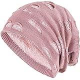 Compagno Wintermütze mit Pailletten warm gefütterte Beanie elegantes Lochmuster Mütze Einheitsgröße, Farbe:Rose