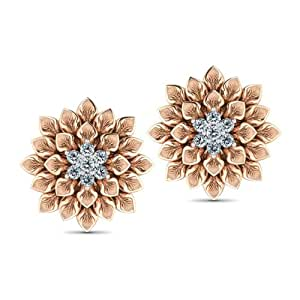 CaratLane Fleur 18K Rose Gold Diamond Stud Earrings