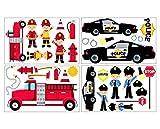 plot4u 34-teiliges Feuerwehr Polizei Wandtattoo Set Kinderzimmer Babyzimmer in 3 Größen (4x16x26cm Mehrfarbig)