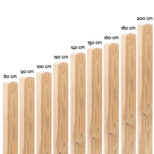 *Imprägnierte Holzpfosten in 18 Größen ( 7 x 7 x 90 cm ) aus Kiefer mit abgerundetem Kopf ( Rundkopf ) · Braune Vierkant Zaunpfähle zur Befestigung von Zaun & Sichtschutz-Elementen*