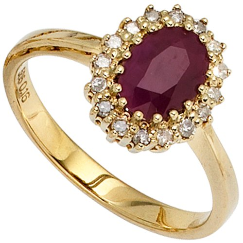 Anillo Ladies 585 oro amarillo 1 colour rojo 16 diamantes 0, 16ct. Gold Ring