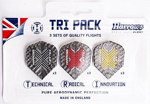 Tri Pack-3 Stück (Harrows Tri-Pack - Tufftex Flights, 3 Sets = 9 Stück)