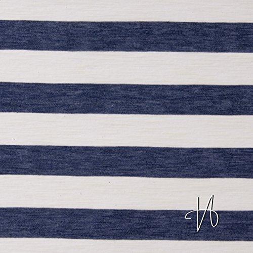 MIRABLAU DESIGN Stoffverkauf Baumwolle Viskose Jersey Blockstreifen blau weiß (17-030M), - Blau Und Weiß Gestreiften Stoff