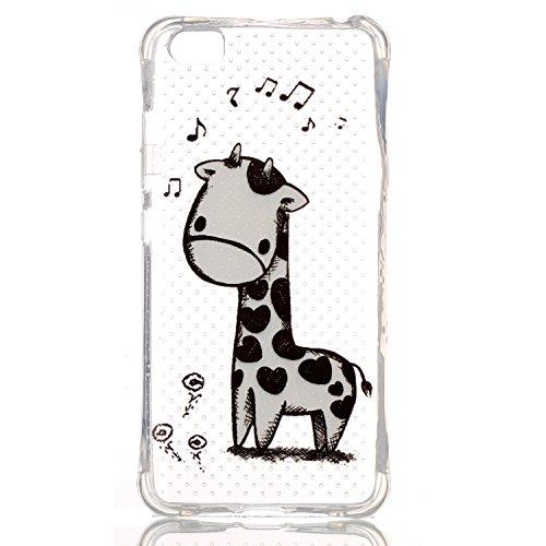Owbb Custodia Gel TPU silicone per Xiaomi Mi5 Telefono Caso Giraffa in bianco e nero Cristallo Trasparente Copertura