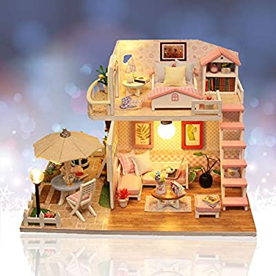 Jeveten DIY Dolls House kit Wooden Dollhouse Miniature Dolls House Furniture Kit with LED Light Creative Furniture Handcraft Cabin for Kids and Adults Christmas Birthday Gift