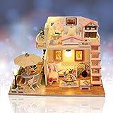 Jeteven Juegos de Miniaturas Casa de Muñecas de Madera DIY Miniatura de Casa Accesorios para Muebles de Casa de Muñecas Regalo de Cumpleaño Navidad de Niños (Rosa)