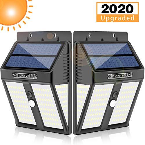 Dothnix Luci solari per esterni, 146 LED ad energia solare, con sensore di movimento, illuminazione grandangolare, luce solare da parete da giardino, impermeabile IP65, 2 pezz